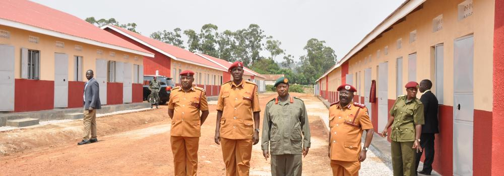 PRESIDENT MUSEVENI AT THE COMMISSIONING OF LOW COST HOUSING INITIATIVE.